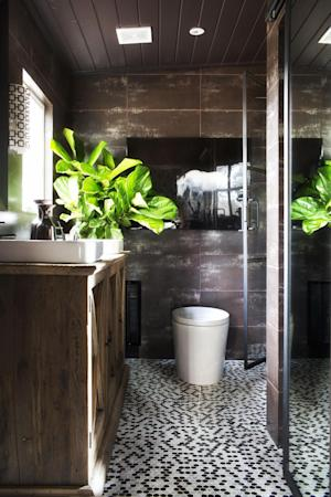 """In this undated photo provided by Brian Patrick Flynn/HGTVREMODELS.COM, to add life to dark, well-shaded rooms, designer Brian Patrick Flynn is a fan of the fiddle leaf fig tree which he claims is, """"architectural, gender-neutral and a great source for adding graphic shape to a space,"""" as he has done in this bathroom seen here. (AP Photo/Brian Patrick Flynn/HGTVREMODELS.COM, Sarah Dorio)"""
