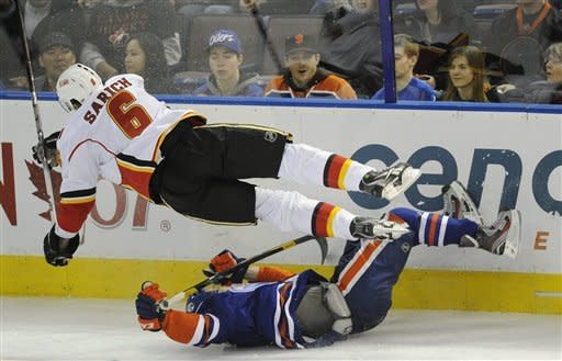 Nugent-Hopkins scores 2 to lead Oilers past Flames