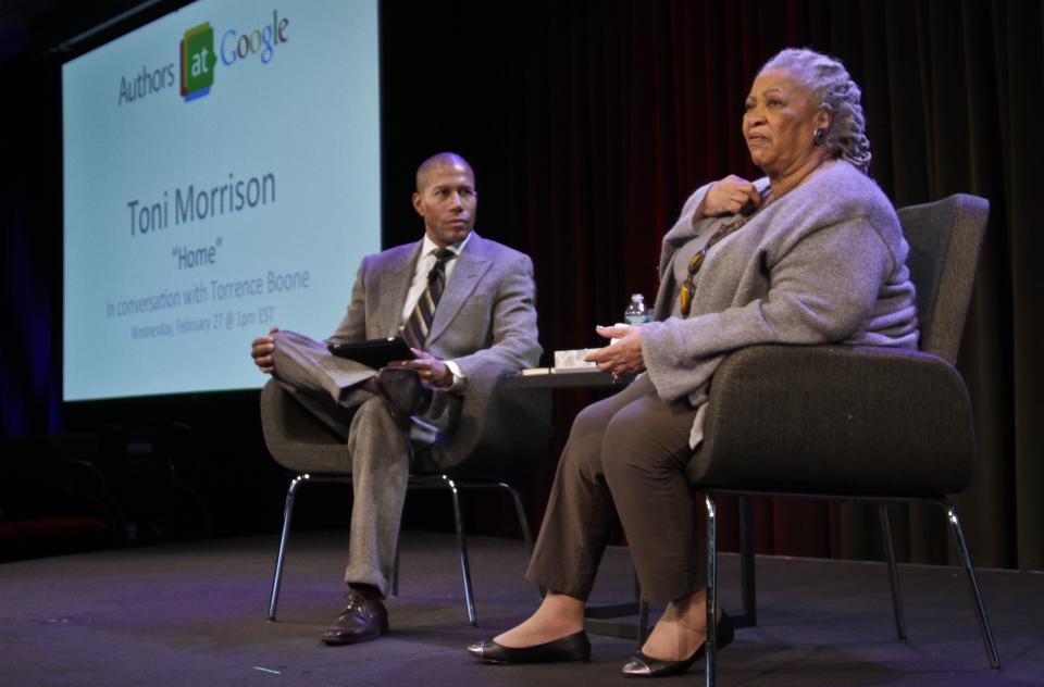 "Author Toni Morrison, right, speaks during an interview about her latest book ""Home,"" with host Torrence Boone during Google's online series, ""Authors At Google,"" on Wednesday, Feb. 27, 2013 in New York. (AP Photo/Bebeto Matthews)"