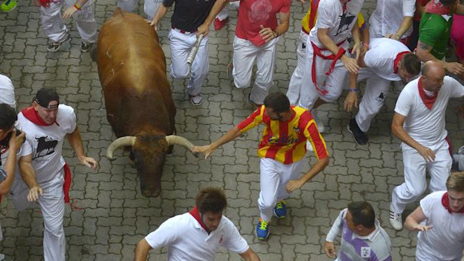 A runner touches the horn of a Jandilla fighting bull at the entrance to the bullring during the first running of the bulls of the San Fermin festival in Pamplona