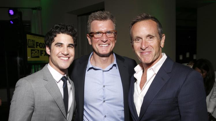Darren Criss, Chairman, Entertainment, Fox Broadcasting Company Kevin Reilly and Dante Di Loreto attends VERTE Grades of Green's annual fundraising event to benefit environmental education at Bel-Air Bay Club on April 11, 2013 in Pacific Palisades, California (Photo by Todd Williamson/Invision for Fox/AP Images)