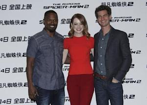 "Cast members Foxx, Stone and Garfield attend a promotional tour of ""The Amazing Spider-Man 2"" in Beijing"