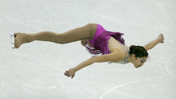 Mirai Nagasu competes in the senior ladies short program at the U.S. figure skating championships, Thursday, Jan. 24, 2013, in Omaha, Neb. (AP Photo/Charlie Neibergall)
