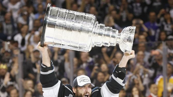 File photo of Los Angeles Kings' Jarrett Stoll celebrating with the Stanley Cup after NHL Stanley Cup Finals in Los Angeles