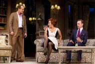 "In this theater image released by Boneau/Bryan-Brown, Adam James, left, Jennifer Tilly, center, and Ben Daniels are shown in a scene from the Roundabout Theatre Company's ""Don't Dress for Dinner,"" in New York. (AP Photo/Boneau/Bryan-Brown, Joan Marcus)"