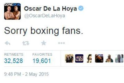 Oscar De La Hoya was very disappointed with the Mayweather-Pacquiao fight