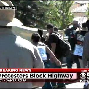 Protesters Angry Cop Who Killed 13-Year-Old Won't Be Charged, Block Hwy. 101 In Santa Rosa