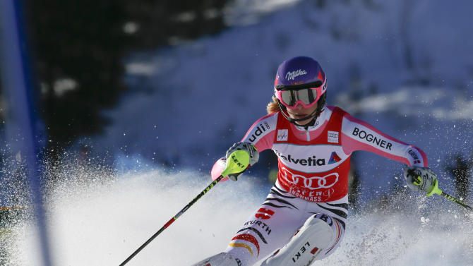 Germany's Maria Hoefl-Riesch speeds down the course during the women's World Cup slalom ski race in Aspen, Colo., on Sunday, Nov. 25, 2012.  (AP Photo/Nathan Bilow)