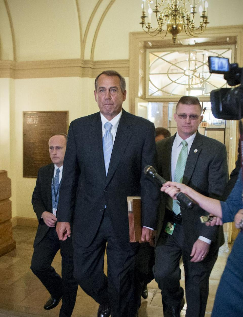 House Speaker John Boehner of Ohio arrives on Capitol Hill in Washington, Friday, March 1, 2103, after a meeting at the White House between President Barack Obama and Congressional leaders before billions of dollars in mandatory budget cuts were to start. The meeting — lasting less than an hour — yielded no immediate results. (AP Photo/J. Scott Applewhite)