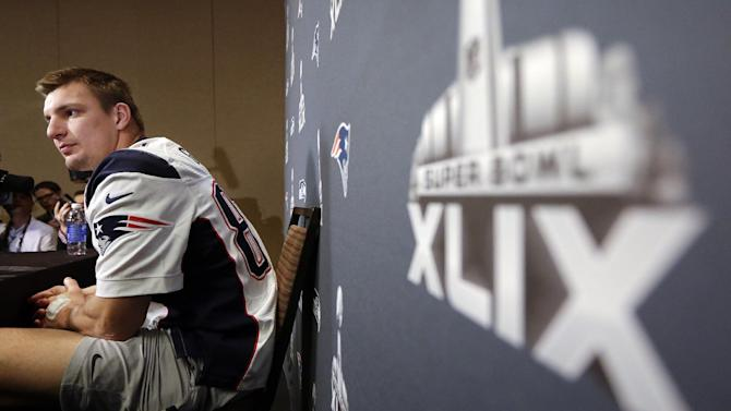 New England Patriots tight end Rob Gronkowski listens to a question during a news conference Thursday, Jan. 29, 2015, in Chandler, Ariz. The Patriots play the Seattle Seahawks in NFL football Super Bowl XLIX Sunday, Feb. 1
