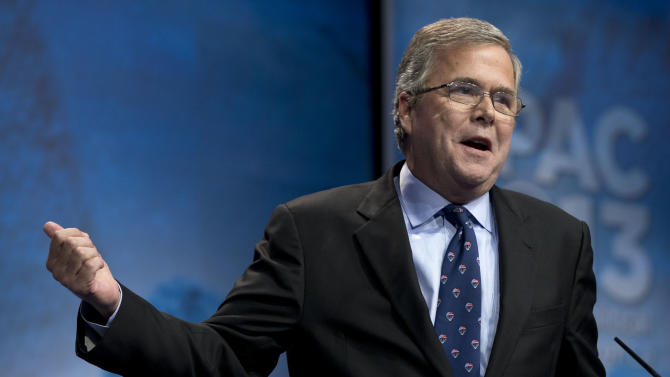Former Florida Gov. Jeb Bush speaks during the Ronald Reagan Dinner at the 40th annual Conservative Political Action Conference in National Harbor, Md., Friday, March 15, 2013. (AP Photo/Jacquelyn Martin)