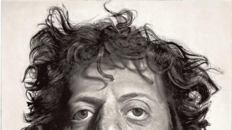 "This photo provided by the Metropolitan Museum of Art shows Chuck Close's painting ""Phil,"" in the museum's new exhibition ""Regarding Warhol: Sixty Artists, Fifty Years.""  The exhibition begins Tuesday, Sept. 18, 2012, and runs through Dec. 31. (AP Photo/Metropolitan Museum of Art)"