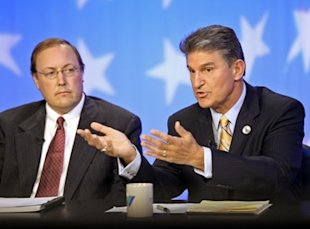 Joe Manchin speaks during a West Virginia Senate debate
