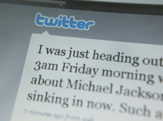 A Twitter account open on a computer screen