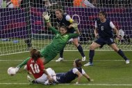 United States goalkeeper Hope Solo (1)makes a save against Japan during the women&#39;s soccer gold medal match at the 2012 Summer Olympics, Thursday, Aug. 9, 2012, in London. (AP Photo/Andrew Medichini)