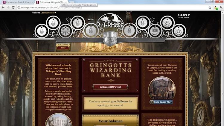 This undated screenshot shows the website Pottermore. One million fans who were able to solve riddles and find a Magical Quill have had a chance to try out Pottermore for nearly a year. The rest of us, the magic-free Muggles,  had to wait until it opened to the general public this spring. (AP Photo/Pottermore)