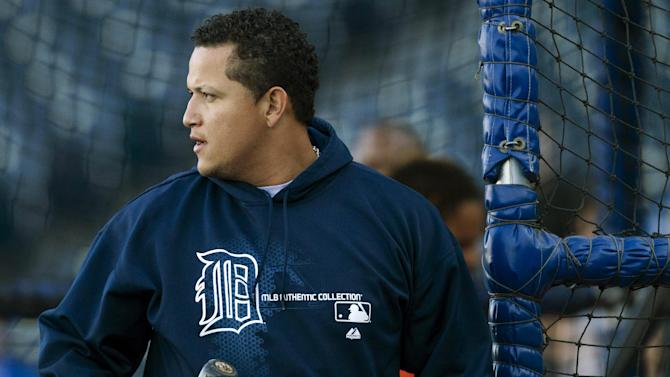 Detroit Tigers' Miguel Cabrera finishes his turn during batting practice before a baseball game with the Kansas City Royals at Kauffman Stadium in Kansas City, Mo., Wednesday, Oct. 3, 2012. (AP Photo/Orlin Wagner)