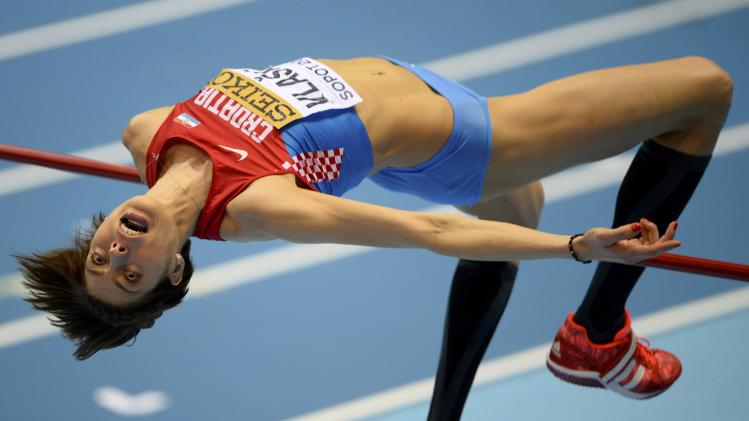 Croatia's Vlasic competes in women's high jump qualification at world indoor athletics championships in Sopot