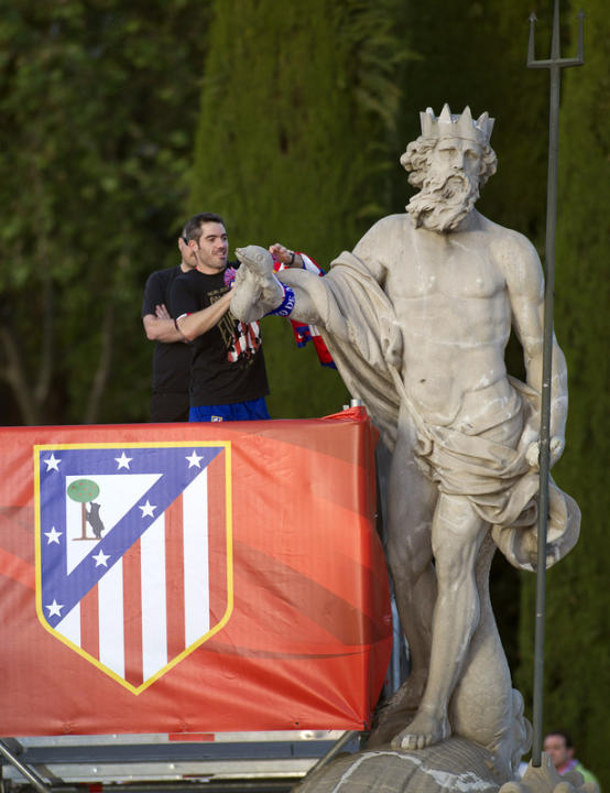 Atletico Madrid's Defender And Captain Antonio Lopez Hangs AFP/Getty Images