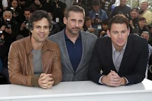 "Cast members Mark Ruffalo, Steve Carell and Channing Tatum pose during a photocall for the film ""Foxcatcher"" in competition at the 67th Cannes Film Festival in Cannes"