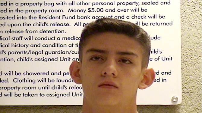 Nehemiah Griego, 15,  is seen in an undated photo provided by the Bernalillo County Sheriff's Deptartment. Griego is charged with killing five family members on Jan. 19, 2013, including his father, mother, and three youngest siblings in Albuquerque, N.M.  Authorities in New Mexico say Griego had reloaded his guns after the attacks and planned to go to a Wal-Mart and randomly shoot people. Instead, they say he texted a picture of his dead mother to his 12-year-old girlfriend, then spent much of Saturday with her. The two went to the church where his father had been a pastor, and Griego eventually confessed to killing his parents and three younger siblings.  (AP Photo/Bernalillo County Sheriff's Deptartment)