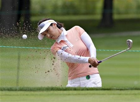 Park of South Korea hits out of sand trap on seventh hole during first round at Canadian Women's Open