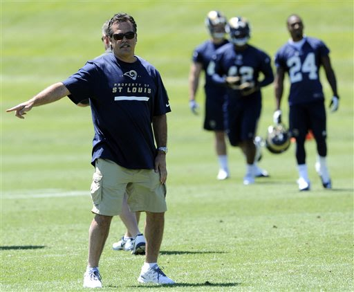 St Louis Ram's head coach Jeff Fisher, left, directs the team as Ram's Isaiah Pead (24) and Terrance Ganaway (42) look on during NFL football practice, Friday, May, 24, 2013, at the team's training fa