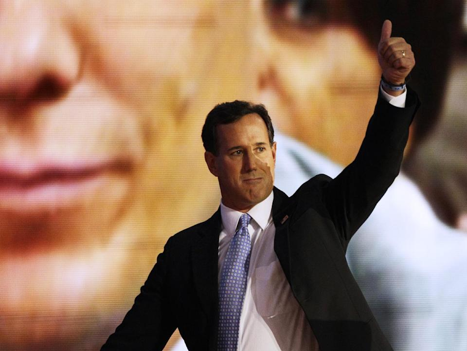 Former Pennsylvania Senator Rick Santorum gives a thumbs up to delegates after his speech during the Republican National Convention in Tampa, Fla., on Tuesday, Aug. 28, 2012. (AP Photo/Charlie Neibergall)