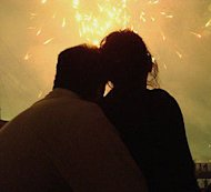 couple looking at fireworks