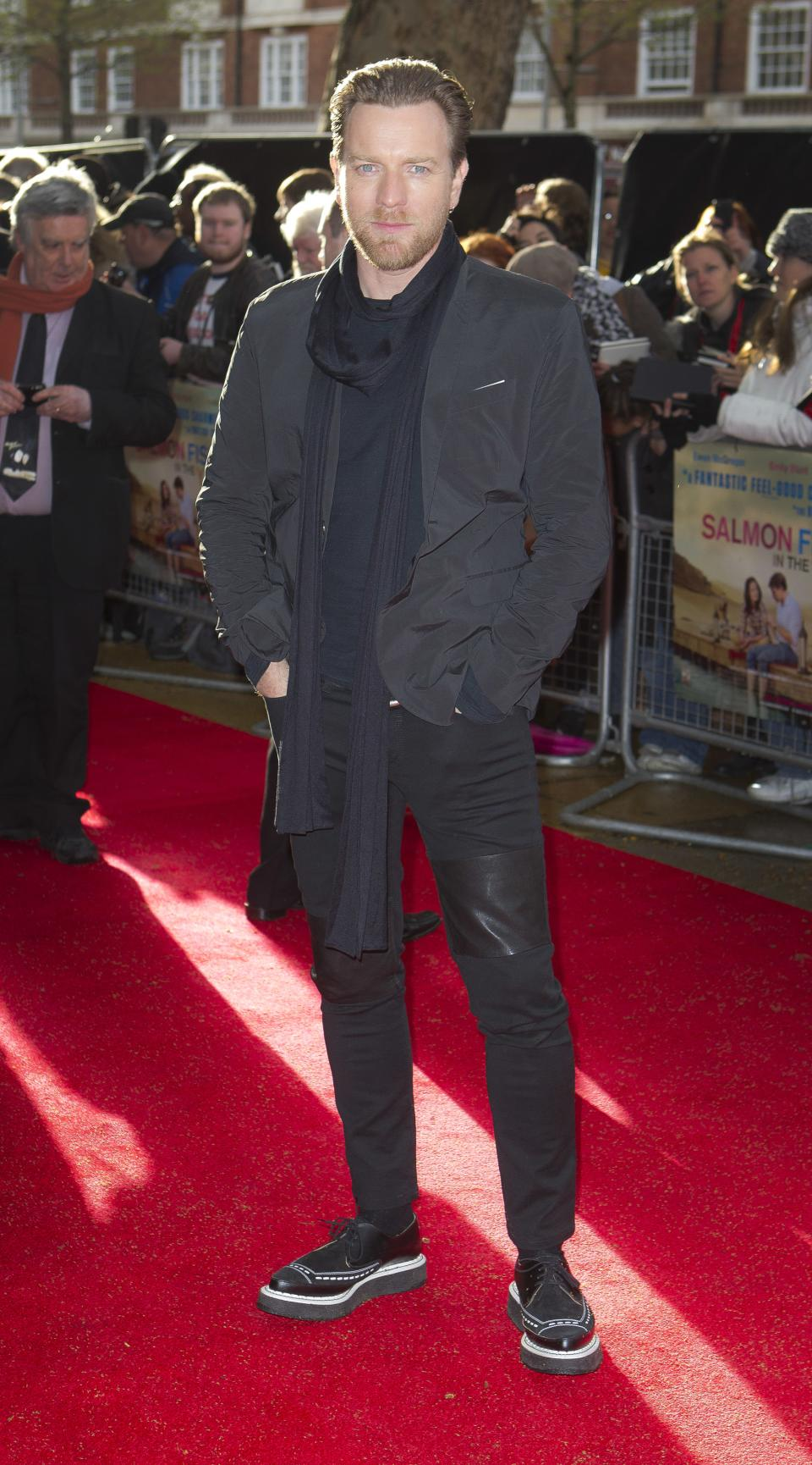 Actor Ewan McGregor arrives at the 'Salmon Fishing In The Yemen' European premiere at a west London cinema, Tuesday, April 10, 2012. (AP Photo/Joel Ryan)