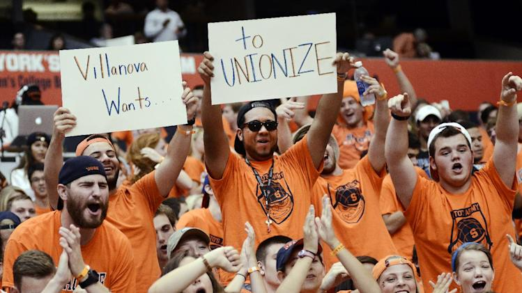 Syracuse University students show their support for the Syracuse Orange before they take on the Villanova Wildcats at the Carrier Dome in Syracuse, N.Y., Friday, August 29, 2014
