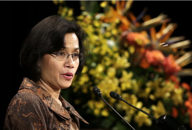 World Bank Managing Director Sri Mulyani Indrawati makes a speech at the International Conference on the Future of Asia in Tokyo