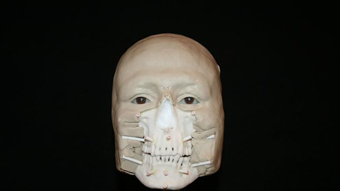 This undated photo provided by Louisiana State University FACES Laboratory shows a phase of facial reconstruction. In an effort to identify two Civil War sailors recovered from the shipwreck of the USS Monitor, Louisiana State University's FACES Laboratory is working with NOAA to complete forensic facial reconstructions on the two lost men recovered in 2002 by NOAA and the United States Navy. (AP Photo/Louisiana State University FACES Laboratory)
