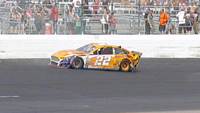 Logano wrecked by oldest driver on track