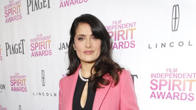Salma Hayek attends the Film Independent Spirit Awards Luncheon at BOA Steakhouse on Saturday, Jan. 12, 2013, in West Hollywood, Calif. (Photo by Todd Williamson/Invision/AP)