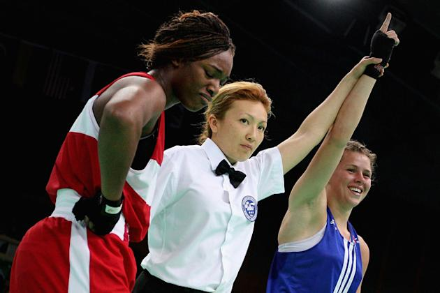 Savannah Marshall (Blue) Of England Celebrate Winning Against Claressa Shields (Red) Of The United States In The Getty Images