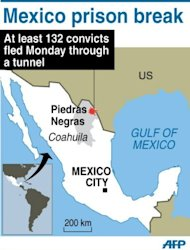 Graphic map of Mexico locating Piedras Negras, where at least 132 convicts escaped from a prison through a tunnel