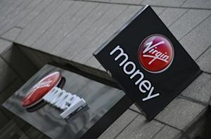 A logo at a branch of Virgin Money bank is seen in the City of London
