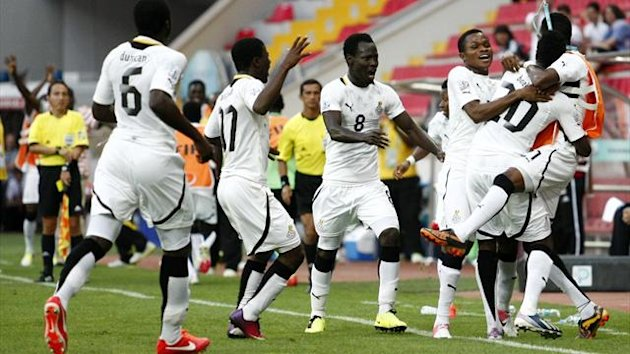 TURKEY, Kayseri : Ghana's Yiadom Boakye (2ndR) celebrates his goal with teammates during the FIFA U-20 World Cup Turkey 2013 Round of 16 football match between Portugal and Ghana (AFP)