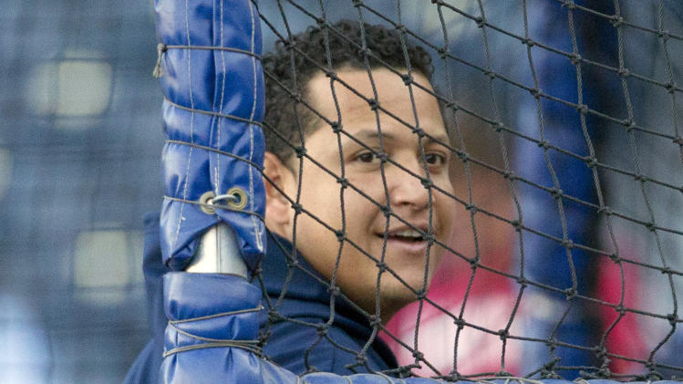Detroit Tigers' Miguel Cabrera takes his turn during batting practice before a baseball game with the Kansas City Royals at Kauffman Stadium in Kansas City, Mo., Wednesday, Oct. 3, 2012. (AP Photo/Orlin Wagner)