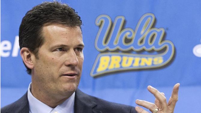UCLA men's basketball coach Steve Alford speaks during a news conference at Pauley Pavilion in Los Angeles on Tuesday, April 2, 2013. Alford was hired as UCLA basketball coach on Saturday, spurning New Mexico days after he agreed to a new 10-year deal with the Lobos. (AP Photo/Damian Dovarganes)