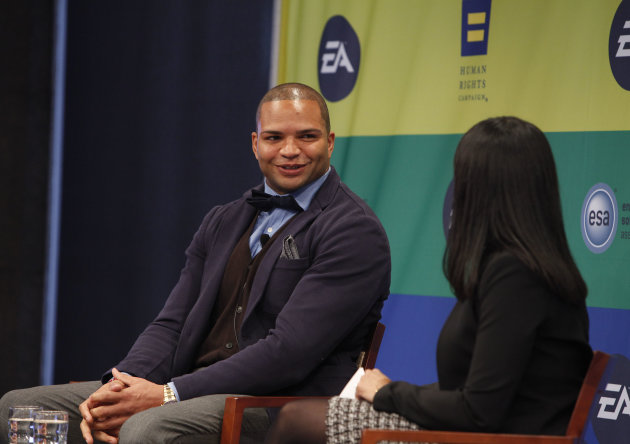 NFL linebacker and Super Bowl Champion Brendon Ayanbadejo of the Baltimore Ravens gets interviewed by Maya Harris from the Ford Foundation at Electronic Arts'  LGBT Full Spectrum Event on Thursday, Ma