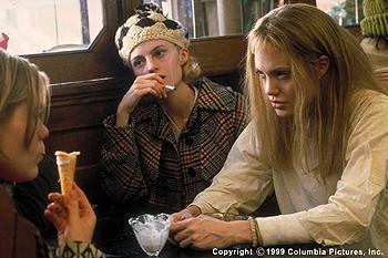 The Columbia Pictures presentation GIRL, INTERRUPTED (12/99) is the true story of troubled young women like Georgina ( Clea Duvall , left), Janet (Angela Bettis, center) and Lisa ( Angelina Jolie ), who are trying to make sense of themselves and the world in the changing landscape of the late 1960s.