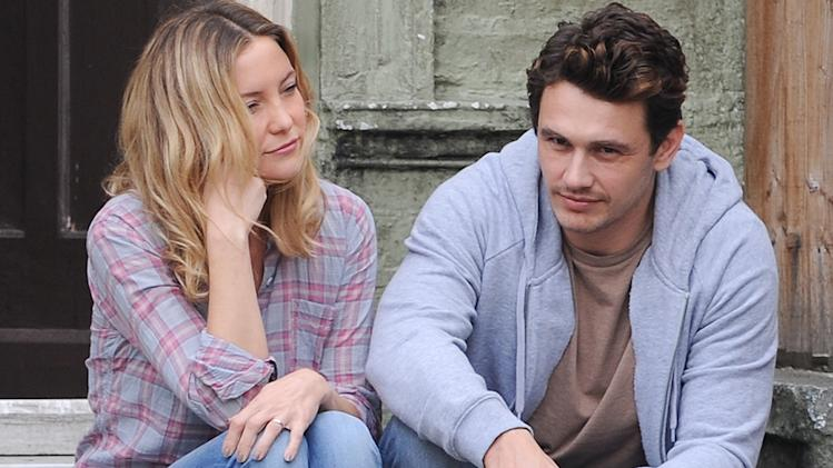 Kate Hudson and James Franco on the film set of 'Good People' in London