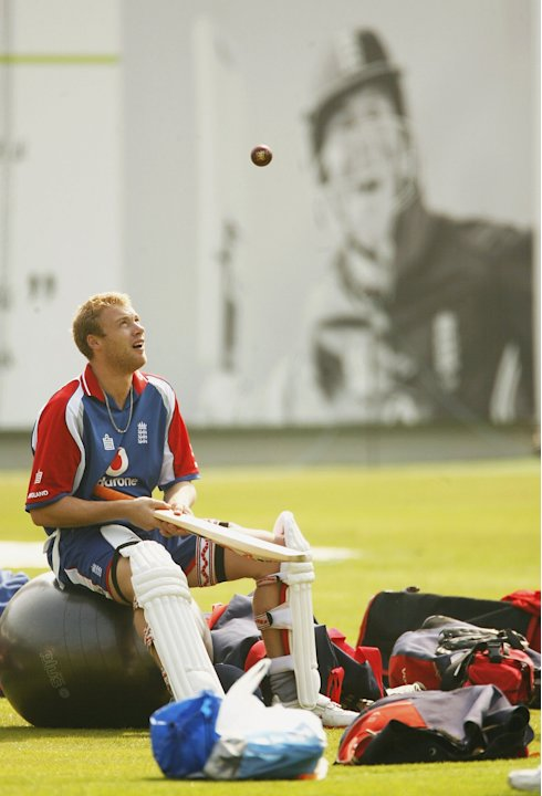LONDON - MAY 10:  Andrew Flintoff of England looks on during the England nets session at Lords Cricket Ground on May 10, 2006 in London, England.  (Photo by Tom Shaw/Getty Images)