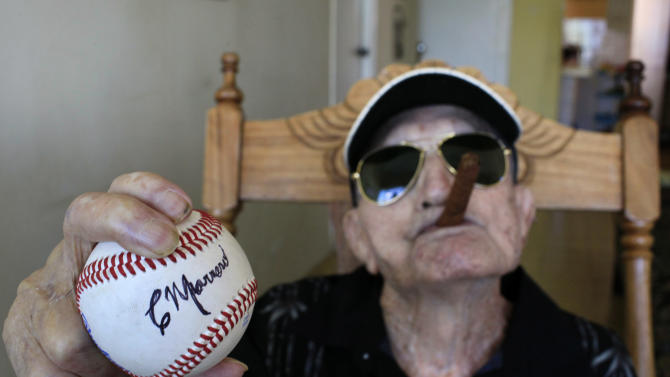 Conrado Marrero, oldest living ex-MLB player, dies at 102 (Photo taken on April 23, 2013.) (AP Photo/Franklin Reyes)