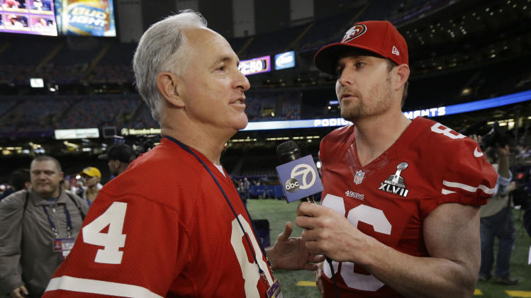 San Francisco 49ers long snapper Brian Jennings, right, interviews former NFL football 49ers player Michael Shumann during media day for the NFL Super Bowl XLVII football game Tuesday, Jan. 29, 2013, in New Orleans. (AP Photo/Mark Humphrey)