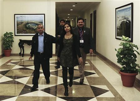 Indian diplomat Khobragade arrives with her father Uttam at Maharashtra Sadan state guesthouse in New Delhi