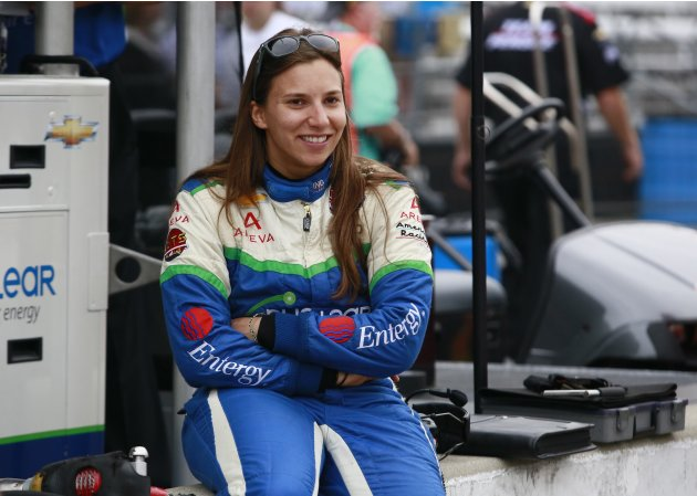 Simona de Silvestro smiles during practice for the Indianapolis 500 in Indianapolis.