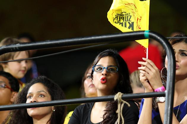 Sakshi Dhoni dons the geek look against Chennai's clash with the Royal Challengers Bangalore held at the MA Chidambaram Stadiumin Chennai on the 13th April 2013. Photo by Prashant Bhoot-IPL-SPORTZ